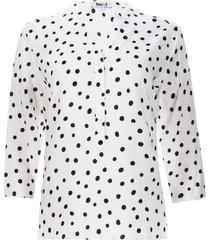 blusa mujer m3/4 lunares color blanco, talla m