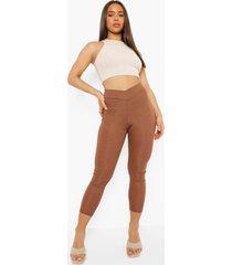 geribbelde wikkel leggings met grte taille band, chocolate