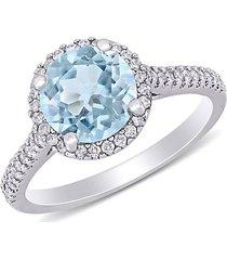 saks fifth avenue women's 14k white gold, aquamarine & diamond halo engagement ring - size 6
