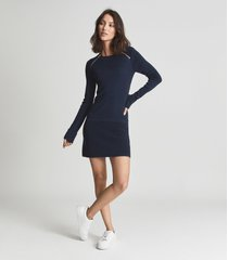 reiss hayden - knitted bodycon dress with zip detail in navy, womens, size xl