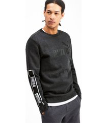 amplified sweater met lange mouwen voor heren, grijs/heide, maat s   puma
