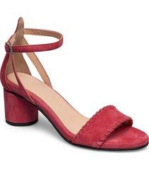 slfmerle new suede high heel sandal b sandal med klack rosa selected femme