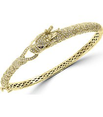 14k yellow gold espresso & white diamond dragon cuff bracelet