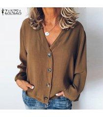 zanzea mujeres botones cuello en v camisa de las tapas ocasionales de las señoras de la blusa tops flojos llanura sólido más -café
