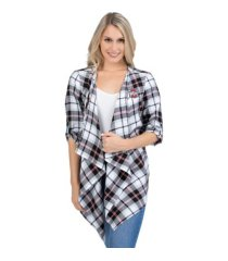 ug apparel ohio state buckeyes women's plaid cardigan