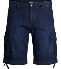 korte broek jack & jones 12183616 jjicharlie jjcargo shorts akm 731 blue denim