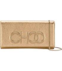 jimmy choo debossed logo clutch bag - dourado
