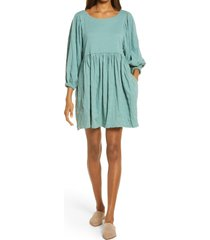 women's endless summer by free people get obsessed babydoll tunic dress, size medium - blue/green