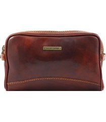 tuscany leather tl140850 igor - beauty case in pelle marrone