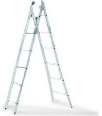 escada de alumínio alulev, 8 degraus, 3 em 1, dupla profissional - dp108