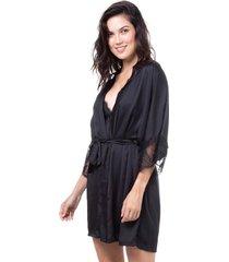 robe cetim homewear preto | 589.0725