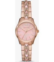 mk orologio runway mercer petite tonalità oro rosa con pavé e madreperla - oro rosa (oro rosa) - michael kors