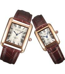 chenxi orologio squadrato per coppia in acciqio inossidabile con cinturino in pelle