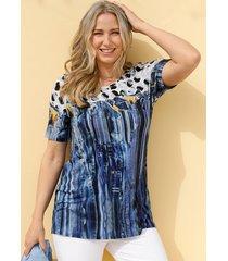 shirt miamoda blauw::wit