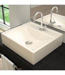 cuba para banheiro quadrada bege q39 - compace