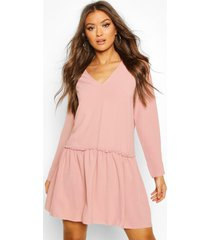 frill detail shift dress, dusky pink