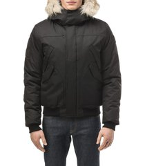 men's nobis dylan windproof & waterproof 650-fill power down bomber jacket with genuine coyote fur trim, size medium - black