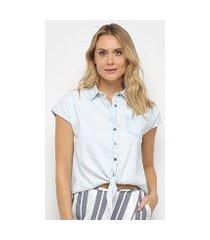 camiseta jeans malwee tradicional amarração feminina