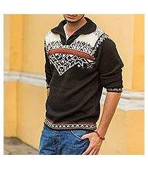 men's 100% alpaca sweater, 'midnight snow' (peru)