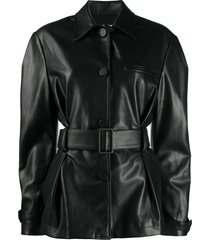 brognano belted shirt jacket - black