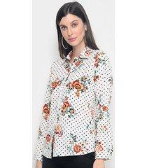 camisa charm lady estampada poá flores feminina