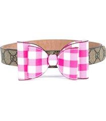 gucci kids gingham bow signature gg belt - neutrals