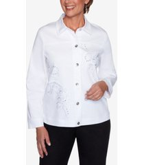 alfred dunner women's missy anchor's away rope embroidered jacket