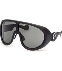 women's moncler 73mm oversize shield sunglasses - matte black/ smoke