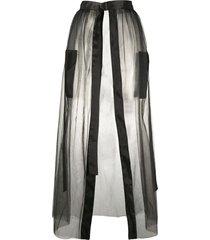 loulou sheer front slit skirt - black