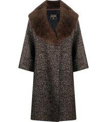 jean paul gaultier pre-owned faux-fur lapels knee-length coat - brown