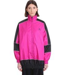 balenciaga casual jacket in fuxia polyamide