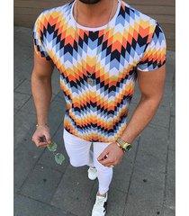 hombres verano casual algodón suave multicolor geométrica camiseta