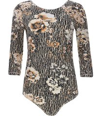 body flores y rayas color beige, talla 10