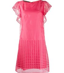 alberta ferretti broderie flared dress - pink