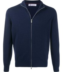 brunello cucinelli fine knit zipped front cardigan - blue