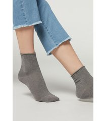 calzedonia ribbed cotton ankle socks woman grey size tu