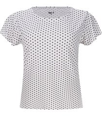 camiseta puntos negros color blanco, talla l