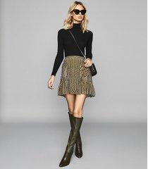 reiss ellie - spot print flippy skirt in khaki, womens, size 10