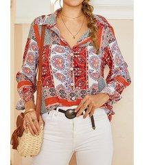 camicetta a maniche lunghe con colletto con risvolto con bottoni stampati bohémien per donna