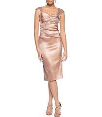 theia women's cap-sleeve stretch metallic dress - dusty rose - size 8