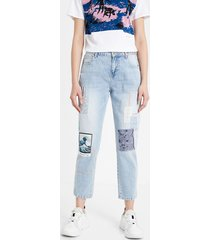 patch boyfriend jeans - blue - 32