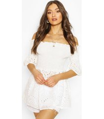 broderie shirred bardot top, white