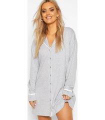 plus pyjama blouse jurk met knopen, grijs