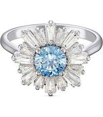 anillo sunshine, azul, baño de rodio