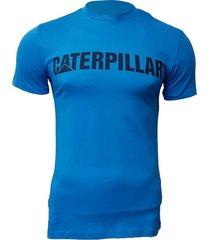 camiseta hombre azul  slim fit caterpillar logo cat