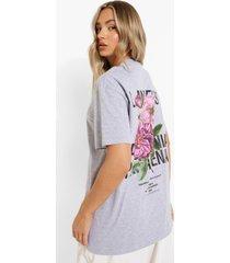 oversized bloemen t-shirt met rugopdruk, grey marl