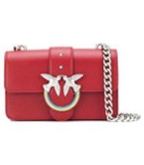 pinko bolsa tiracolo love de couro - vermelho
