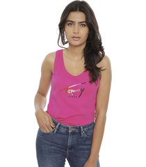 polera tommy jeans fucsia - calce regular