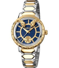 roberto cavalli by franck muller women's swiss quartz blue dial two-tone gold stainless steel bracelet watch, 34mm