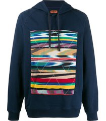 missoni graphic print fitted hoodie - blue